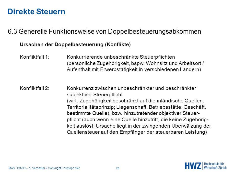 MAS CON13 – 1. Semester // Copyright Christoph Nef 6.3 Generelle Funktionsweise von Doppelbesteuerungsabkommen Direkte Steuern 74 Ursachen der Doppelb