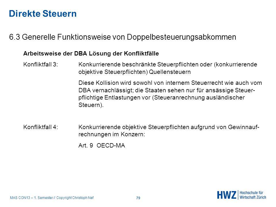 MAS CON13 – 1. Semester // Copyright Christoph Nef 6.3 Generelle Funktionsweise von Doppelbesteuerungsabkommen Direkte Steuern 79 Arbeitsweise der DBA