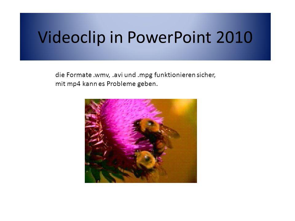 Videoclip in PowerPoint 2010 die Formate.wmv,.avi und.mpg funktionieren sicher, mit mp4 kann es Probleme geben.