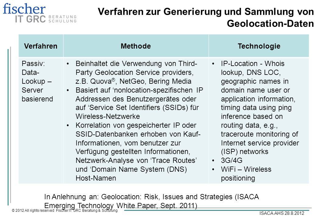© 2012 All rights reserved Fischer IT GRC Beratung & Schulung ISACA AHS 28.8.2012 Verfahren zur Generierung und Sammlung von Geolocation-Daten Verfahr