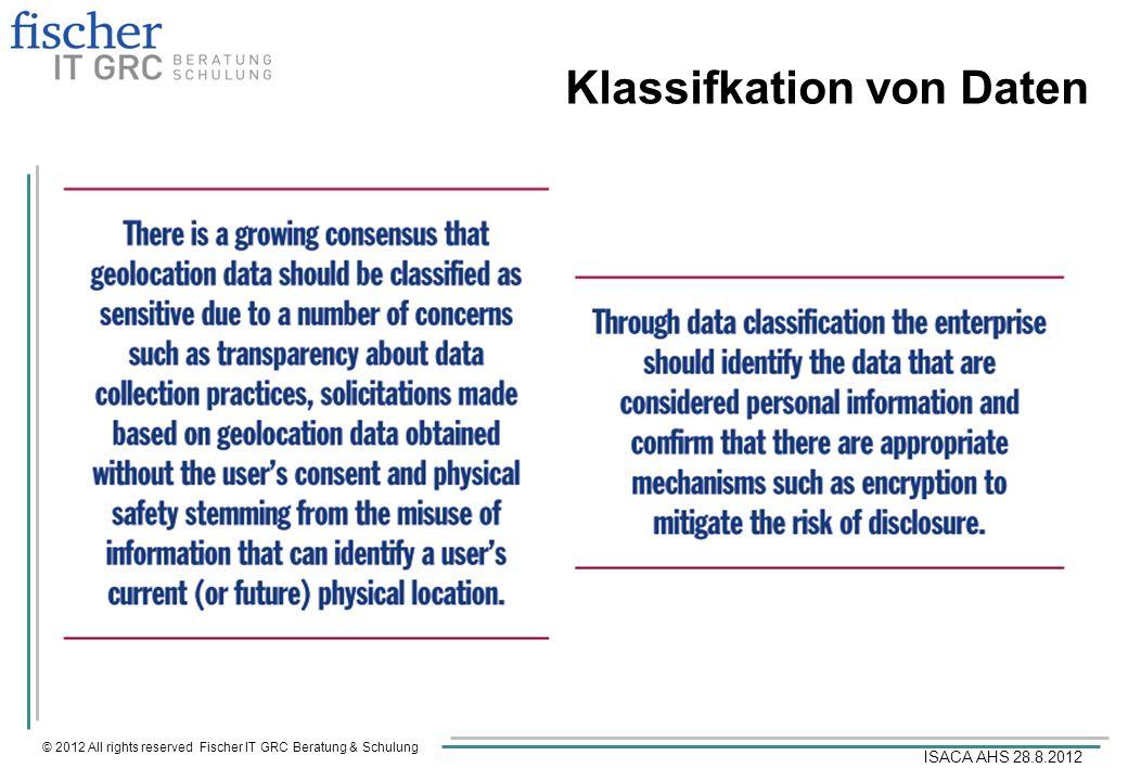 © 2012 All rights reserved Fischer IT GRC Beratung & Schulung ISACA AHS 28.8.2012 Klassifkation von Daten