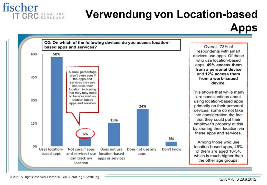 © 2012 All rights reserved Fischer IT GRC Beratung & Schulung ISACA AHS 28.8.2012 Verwendung von Location-based Apps