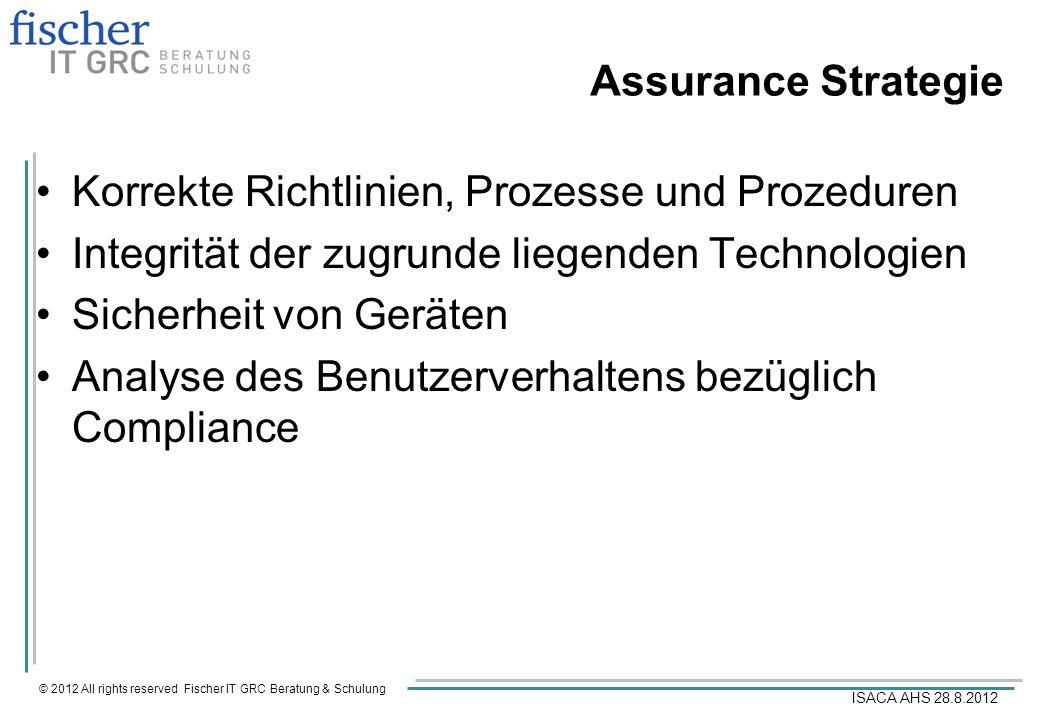© 2012 All rights reserved Fischer IT GRC Beratung & Schulung ISACA AHS 28.8.2012 Assurance Strategie Korrekte Richtlinien, Prozesse und Prozeduren In