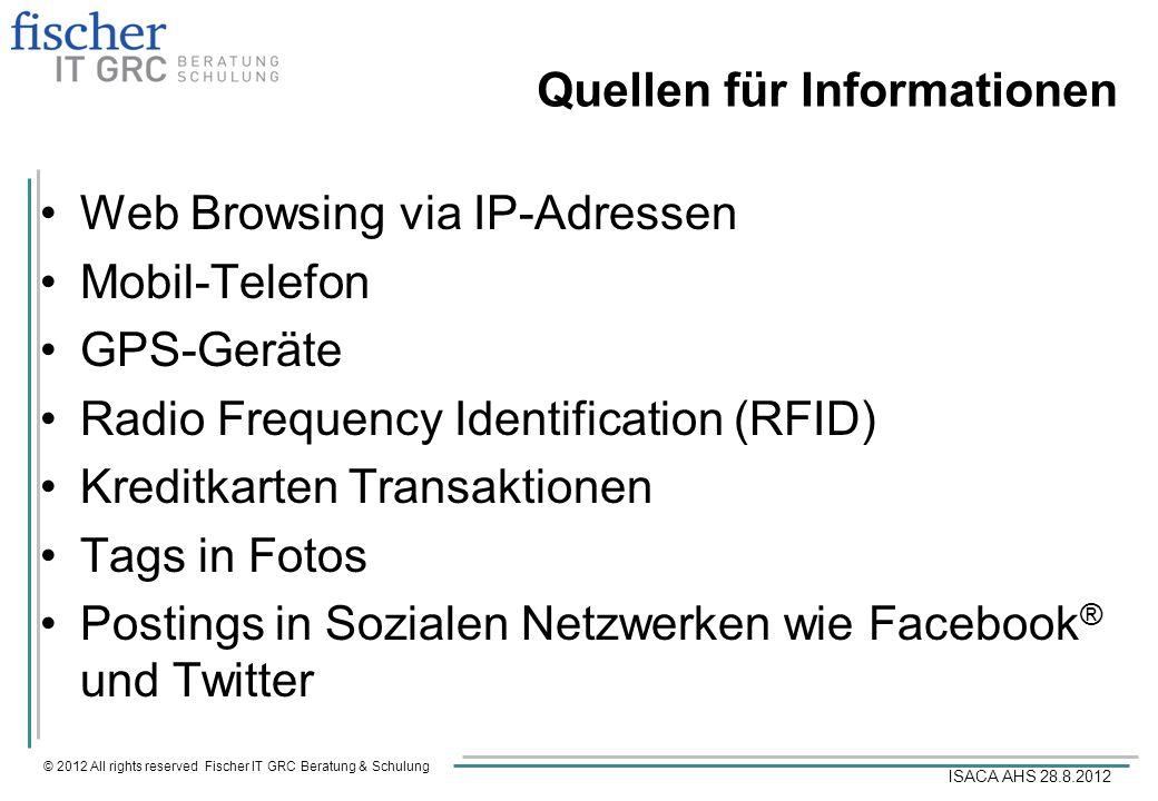 © 2012 All rights reserved Fischer IT GRC Beratung & Schulung ISACA AHS 28.8.2012 Benutzer-Bewusstsein Benutzer kennen üblicherweise die Quelle und die Ownership für die Sammlung von Daten nicht.