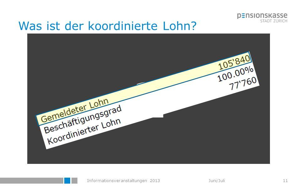 Informationsveranstaltungen 2013 Juni/Juli Was ist der koordinierte Lohn? 2 11