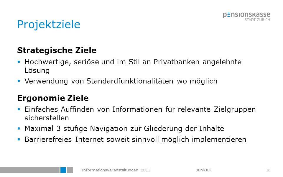 Informationsveranstaltungen 2013 Juni/Juli 16 Projektziele Strategische Ziele Hochwertige, seriöse und im Stil an Privatbanken angelehnte Lösung Verwe