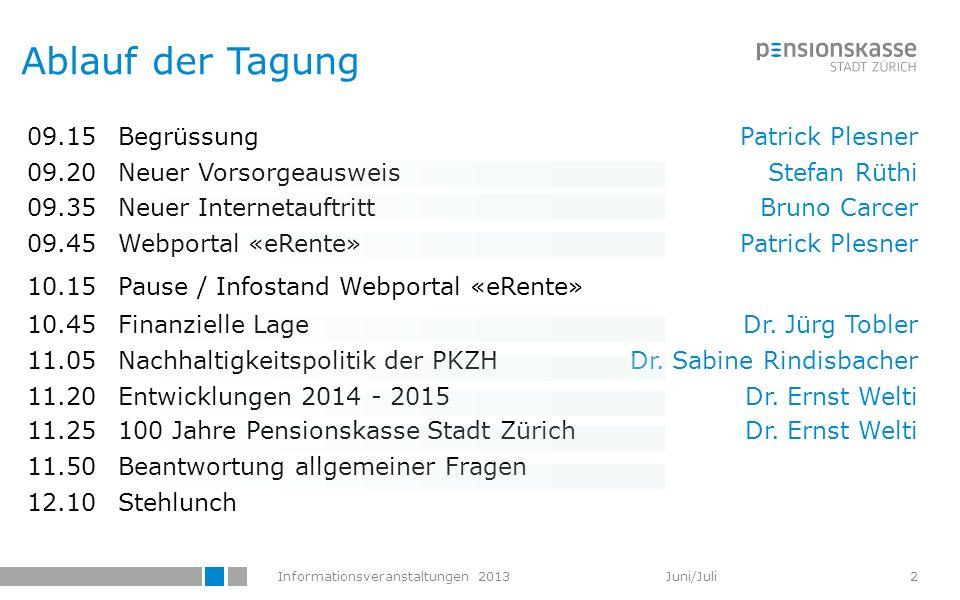 Informationsveranstaltungen 2013 Juni/Juli 09.15BegrüssungPatrick Plesner 09.20Neuer VorsorgeausweisStefan Rüthi 09.35Neuer InternetauftrittBruno Carc