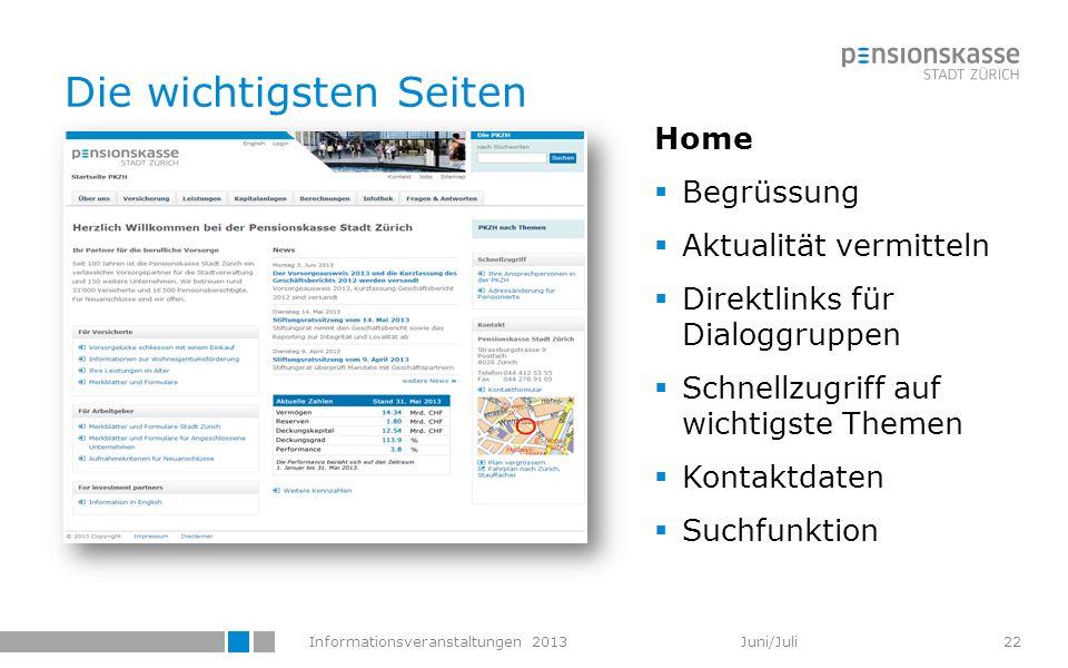 Informationsveranstaltungen 2013 Juni/Juli Die wichtigsten Seiten Home Begrüssung Aktualität vermitteln Direktlinks für Dialoggruppen Schnellzugriff a