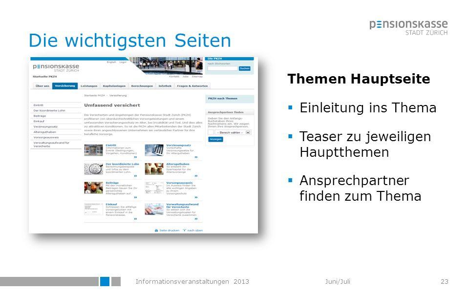 Informationsveranstaltungen 2013 Juni/Juli Die wichtigsten Seiten Themen Hauptseite Einleitung ins Thema Teaser zu jeweiligen Hauptthemen Ansprechpart