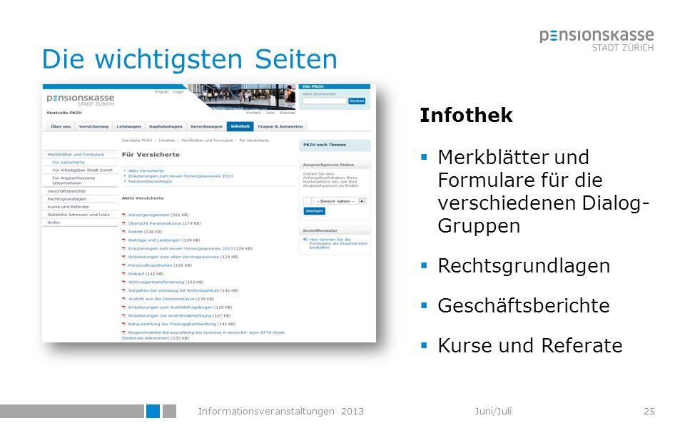 Informationsveranstaltungen 2013 Juni/Juli Die wichtigsten Seiten Infothek Merkblätter und Formulare für die verschiedenen Dialog- Gruppen Rechtsgrund