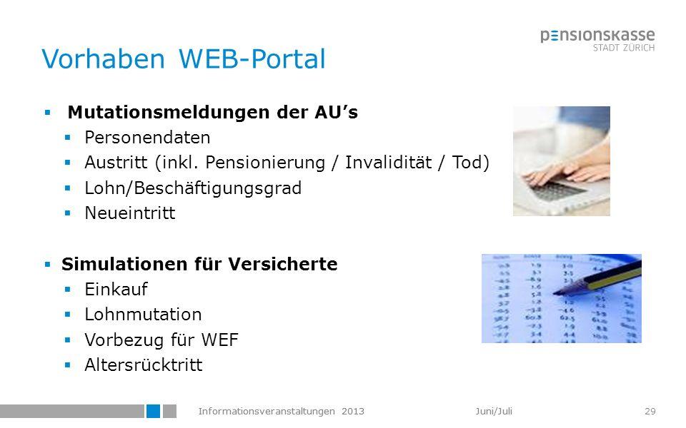 Informationsveranstaltungen 2013 Juni/Juli 29 Vorhaben WEB-Portal Mutationsmeldungen der AUs Personendaten Austritt (inkl. Pensionierung / Invalidität