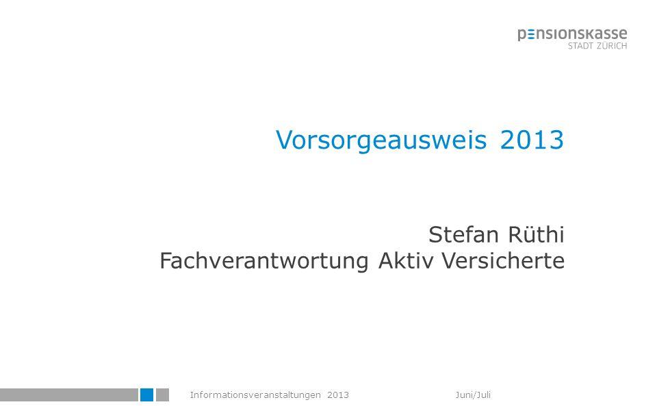 Informationsveranstaltungen 2013 Juni/Juli Vorsorgeausweis 2013 Stefan Rüthi Fachverantwortung Aktiv Versicherte