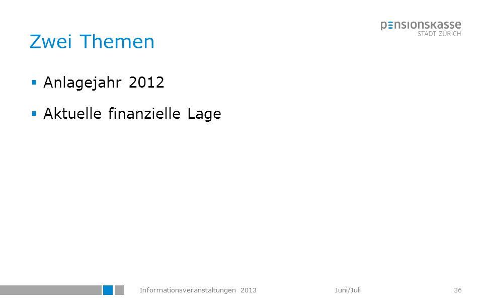 Informationsveranstaltungen 2013 Juni/Juli 36 Zwei Themen Anlagejahr 2012 Aktuelle finanzielle Lage