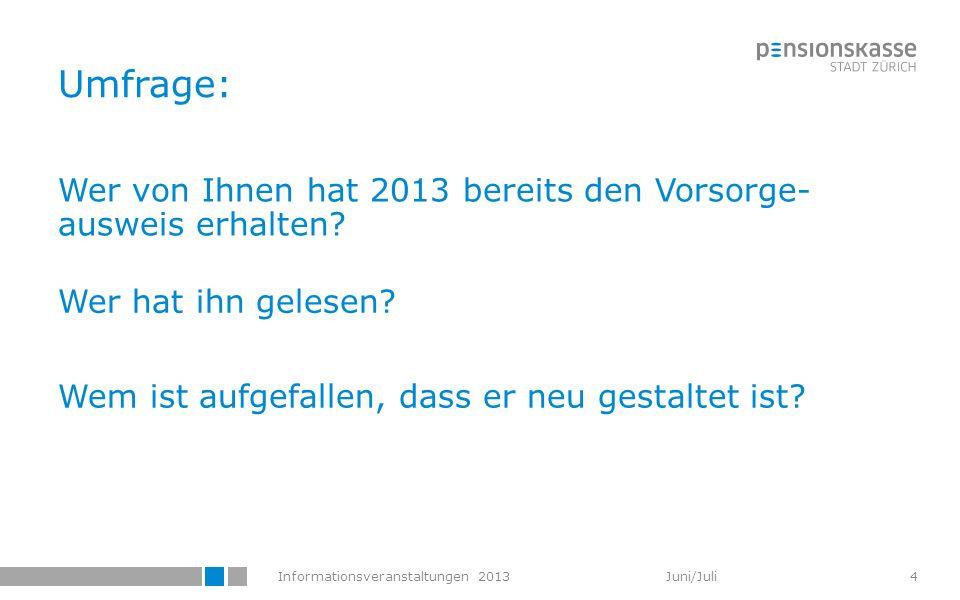 Informationsveranstaltungen 2013 Juni/Juli Umfrage: Wer von Ihnen hat 2013 bereits den Vorsorge- ausweis erhalten? Wer hat ihn gelesen? Wem ist aufgef