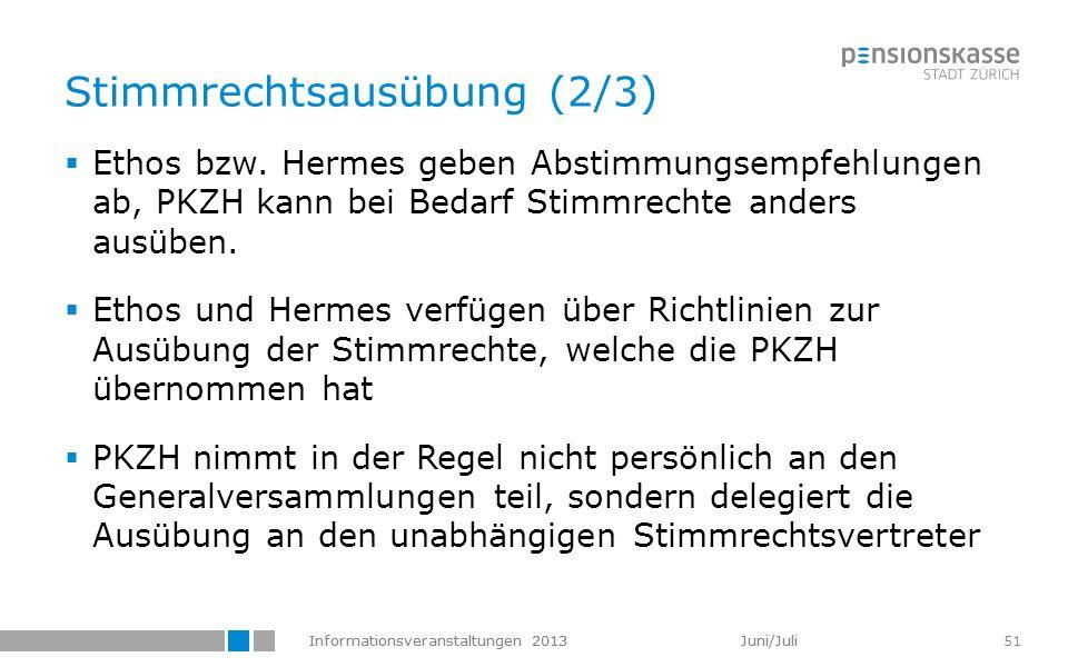 Informationsveranstaltungen 2013 Juni/Juli 51 Stimmrechtsausübung (2/3) Ethos bzw. Hermes geben Abstimmungsempfehlungen ab, PKZH kann bei Bedarf Stimm