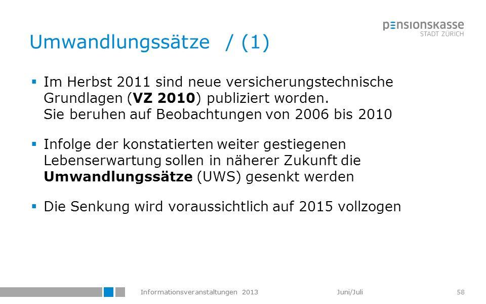 Informationsveranstaltungen 2013 Juni/Juli 58 Umwandlungssätze / (1) Im Herbst 2011 sind neue versicherungstechnische Grundlagen (VZ 2010) publiziert