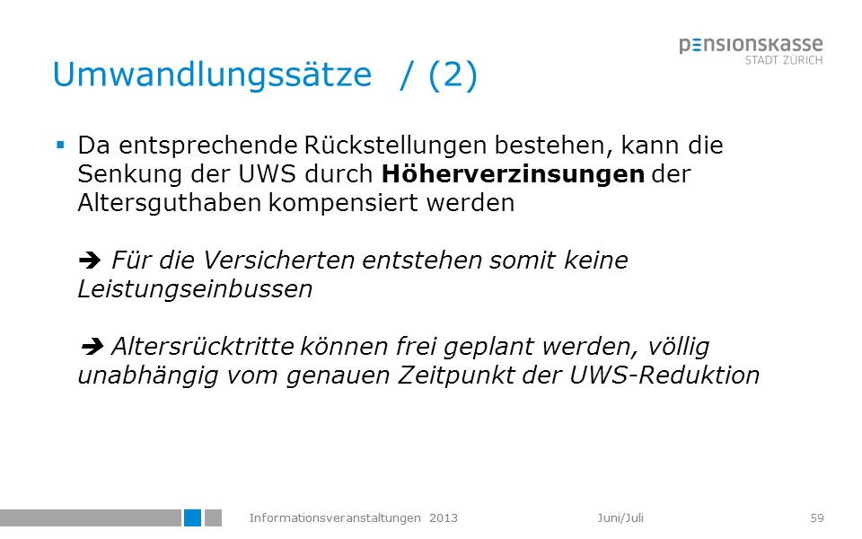 Informationsveranstaltungen 2013 Juni/Juli 59 Umwandlungssätze / (2) Da entsprechende Rückstellungen bestehen, kann die Senkung der UWS durch Höherver