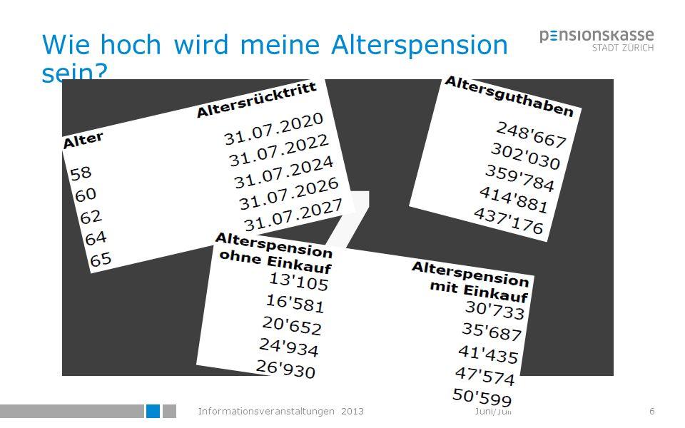 Informationsveranstaltungen 2013 Juni/Juli Wie hoch wird meine Alterspension sein? 7 6