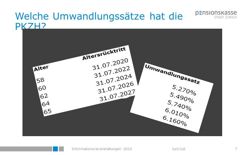 Informationsveranstaltungen 2013 Juni/Juli 58 Umwandlungssätze / (1) Im Herbst 2011 sind neue versicherungstechnische Grundlagen (VZ 2010) publiziert worden.