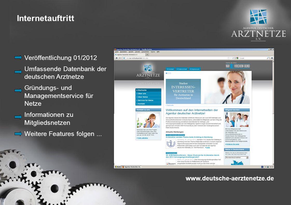 Veröffentlichung 01/2012 Umfassende Datenbank der deutschen Arztnetze Gründungs- und Managementservice für Netze Informationen zu Mitgliedsnetzen Weitere Features folgen...