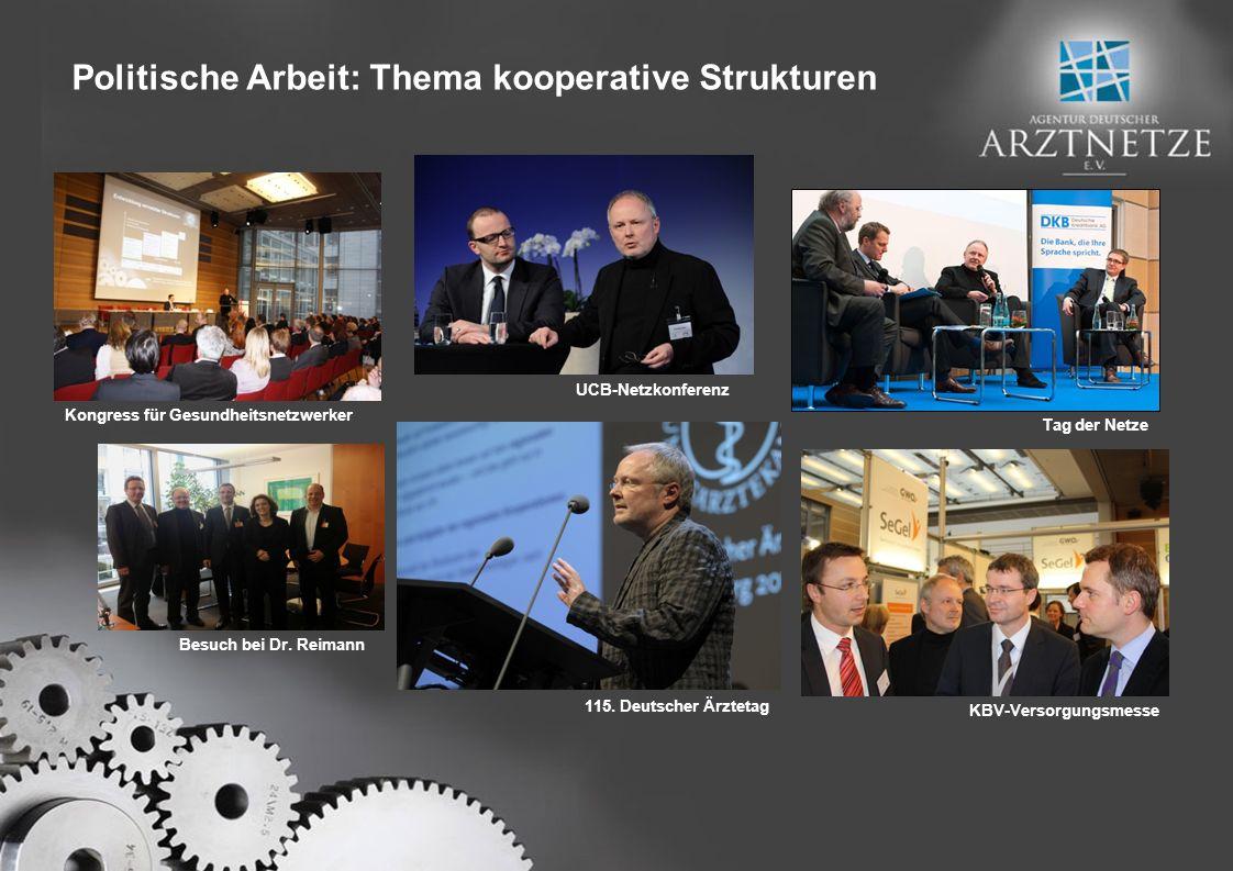 UCB-Netzkonferenz Tag der Netze 115. Deutscher Ärztetag KBV-Versorgungsmesse Kongress für Gesundheitsnetzwerker Besuch bei Dr. Reimann Politische Arbe