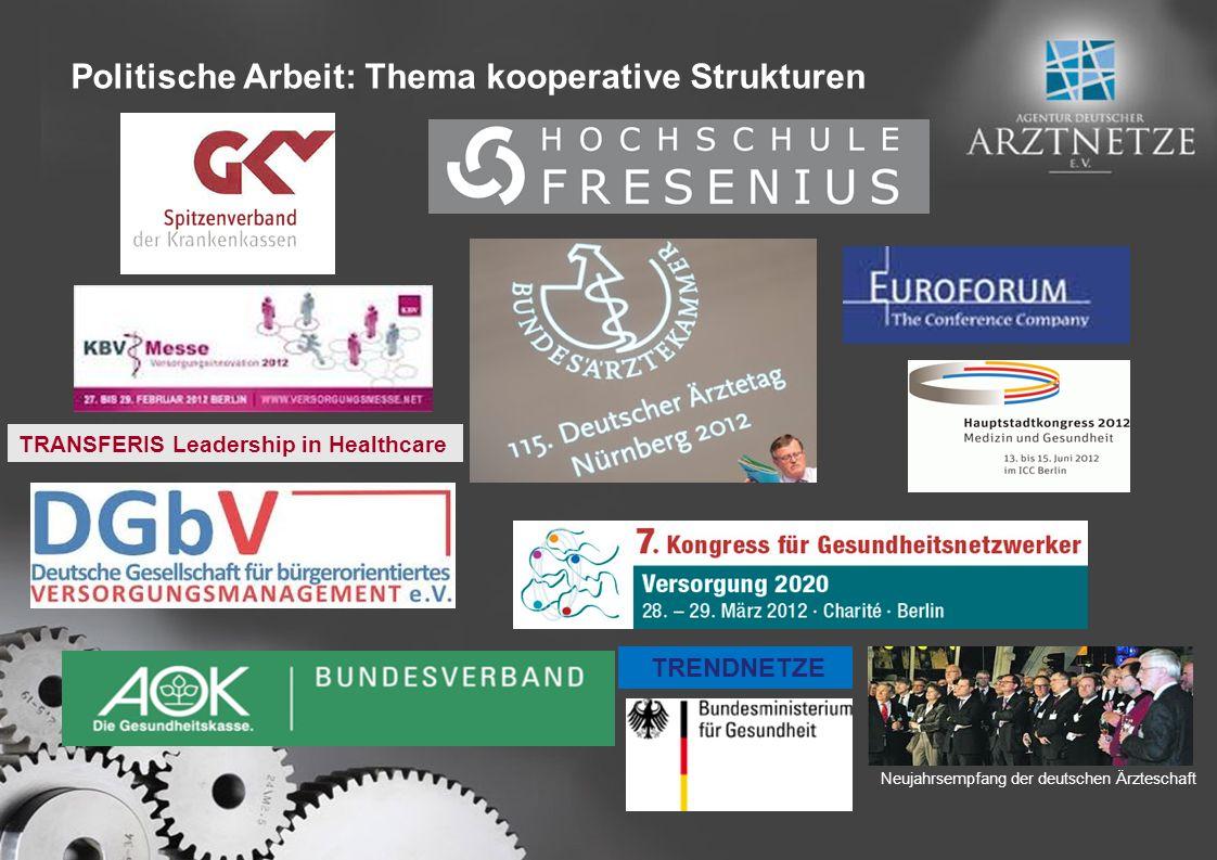 Neujahrsempfang der deutschen Ärzteschaft TRENDNETZE TRANSFERIS Leadership in Healthcare Politische Arbeit: Thema kooperative Strukturen