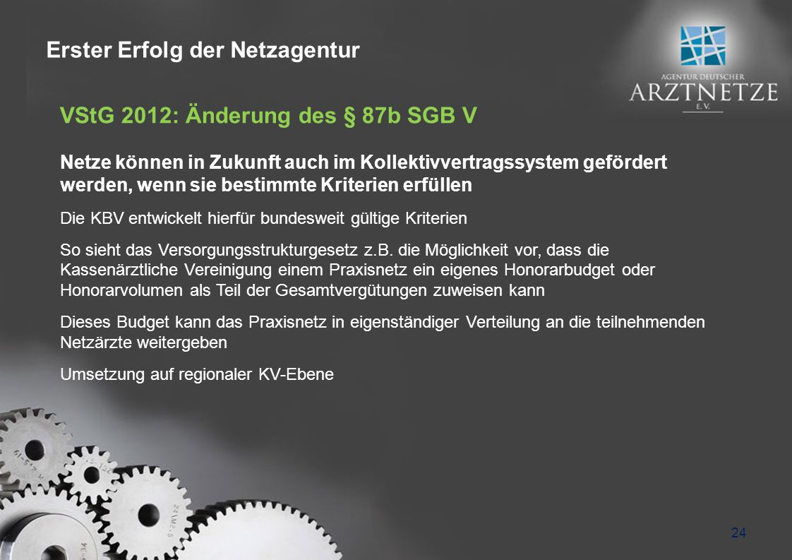 24 VStG 2012: Änderung des § 87b SGB V Netze können in Zukunft auch im Kollektivvertragssystem gefördert werden, wenn sie bestimmte Kriterien erfüllen Die KBV entwickelt hierfür bundesweit gültige Kriterien So sieht das Versorgungsstrukturgesetz z.B.