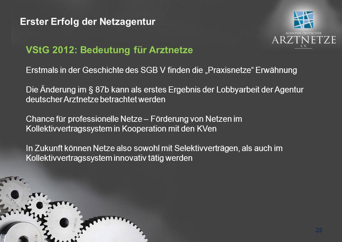 25 VStG 2012: Bedeutung für Arztnetze Erstmals in der Geschichte des SGB V finden die Praxisnetze Erwähnung Die Änderung im § 87b kann als erstes Erge