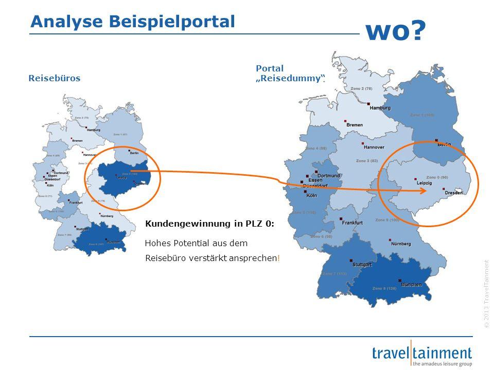 © 2013 TravelTainment Analyse Beispielportal Kundengewinnung in PLZ 0: Hohes Potential aus dem Reisebüro verstärkt ansprechen! Portal Reisedummy Reise