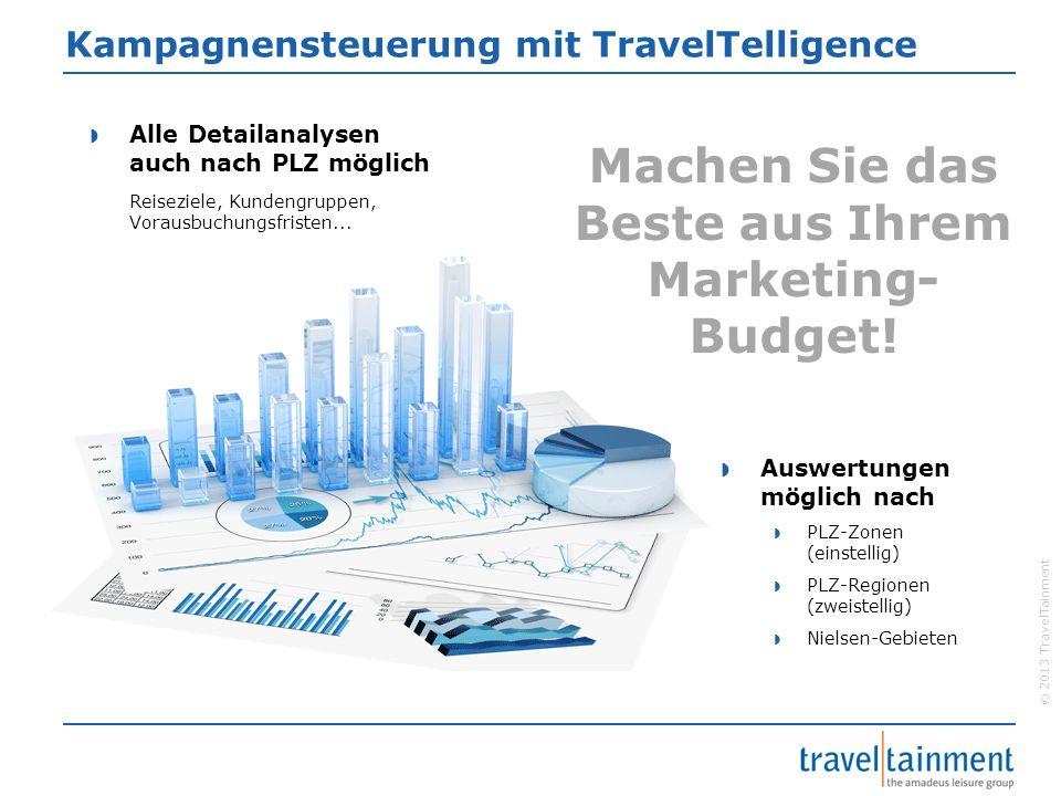 © 2013 TravelTainment Kampagnensteuerung mit TravelTelligence Alle Detailanalysen auch nach PLZ möglich Reiseziele, Kundengruppen, Vorausbuchungsfrist