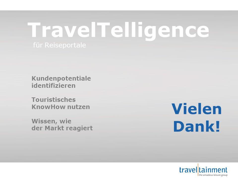 © 2013 TravelTainment Vielen Dank! TravelTelligence für Reiseportale Kundenpotentiale identifizieren Touristisches KnowHow nutzen Wissen, wie der Mark