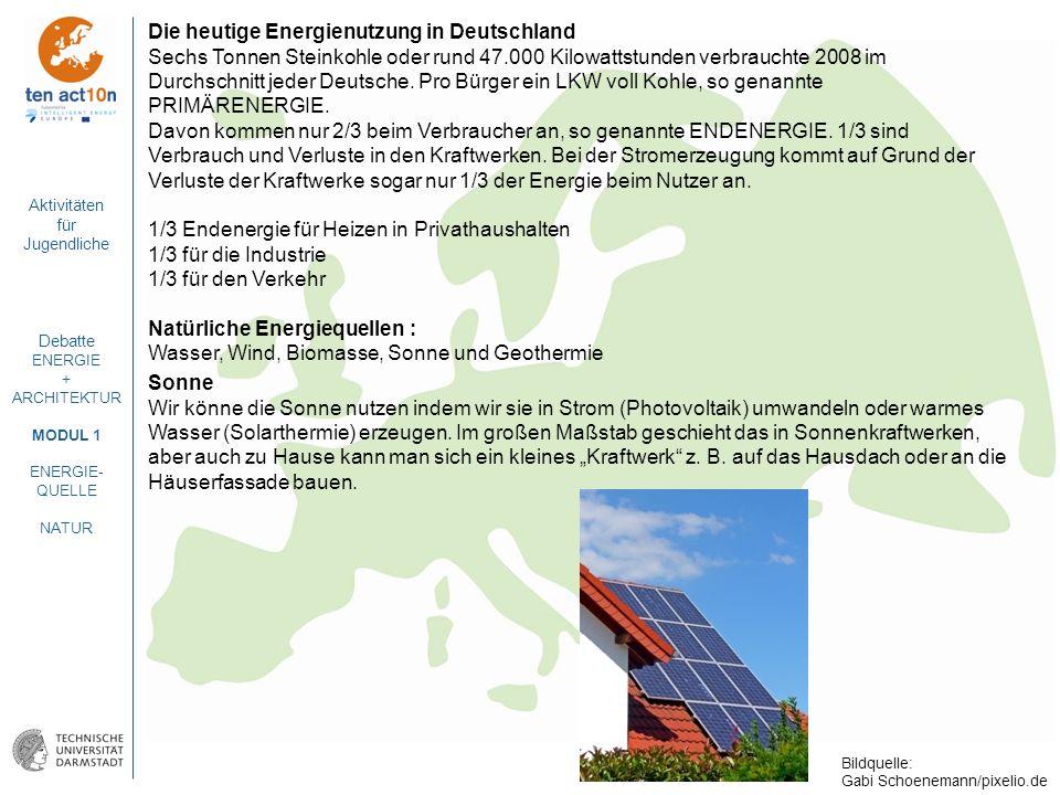 Aktivitäten für Jugendliche Debatte ENERGIE + ARCHITEKTUR MODUL 1 ENERGIE- QUELLE NATUR Die heutige Energienutzung in Deutschland Sechs Tonnen Steinko