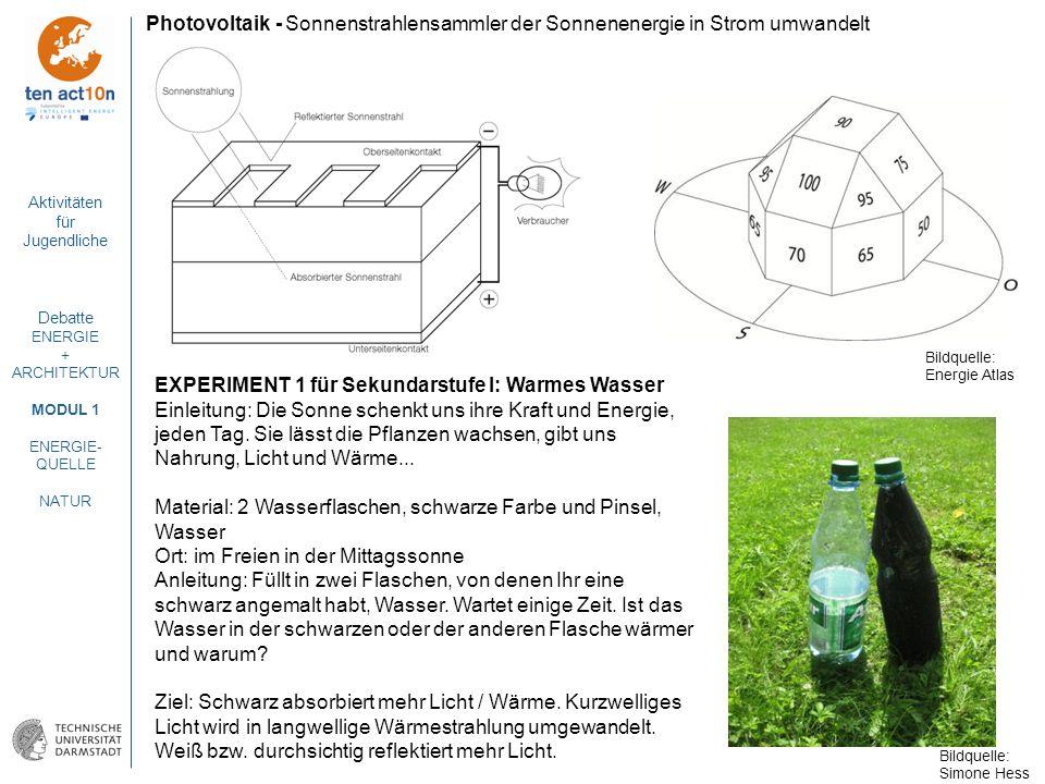 Aktivitäten für Jugendliche Debatte ENERGIE + ARCHITEKTUR MODUL 1 ENERGIE- QUELLE NATUR Photovoltaik - Sonnenstrahlensammler der Sonnenenergie in Stro