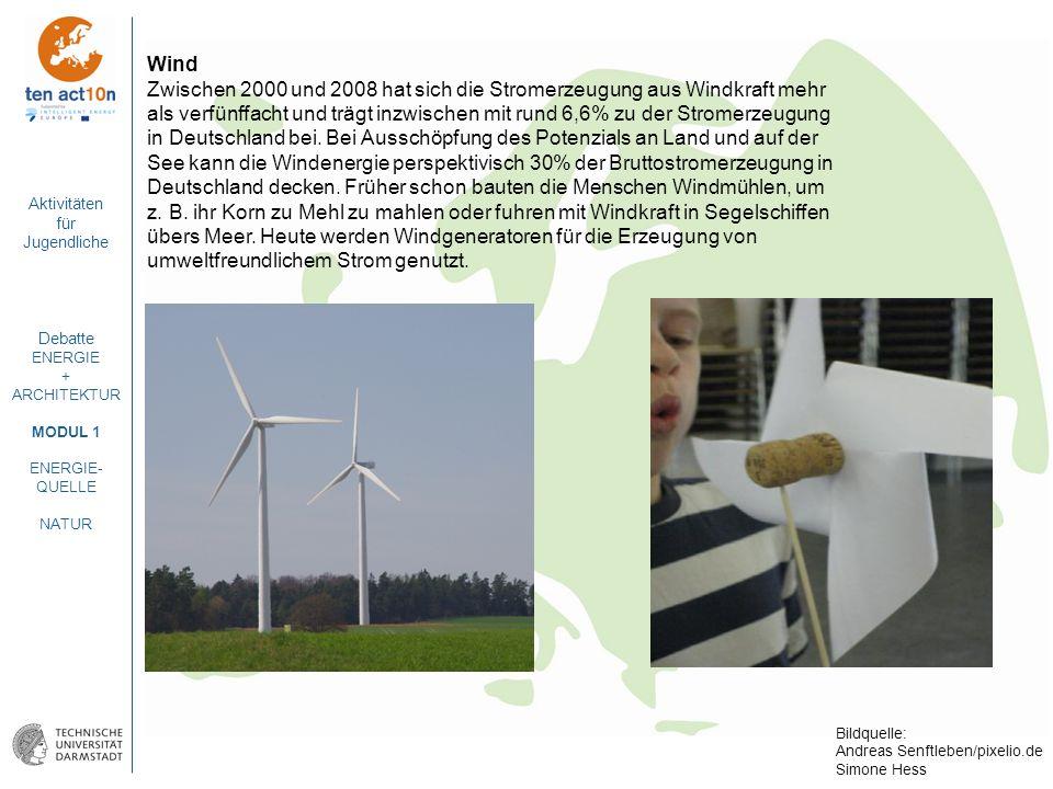 Aktivitäten für Jugendliche Debatte ENERGIE + ARCHITEKTUR MODUL 1 ENERGIE- QUELLE NATUR Wind Zwischen 2000 und 2008 hat sich die Stromerzeugung aus Wi