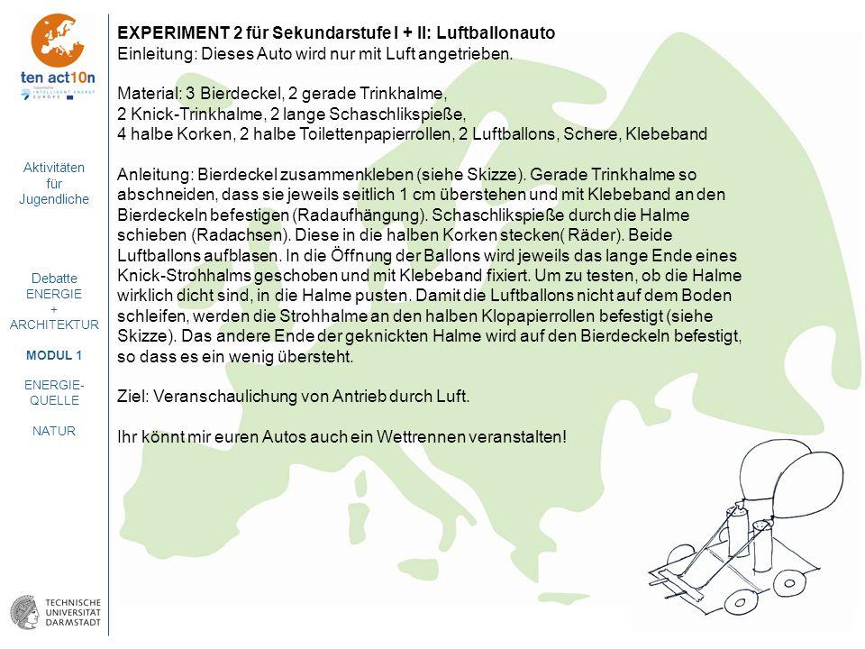 Aktivitäten für Jugendliche Debatte ENERGIE + ARCHITEKTUR MODUL 1 ENERGIE- QUELLE NATUR EXPERIMENT 2 für Sekundarstufe I + II: Luftballonauto Einleitu