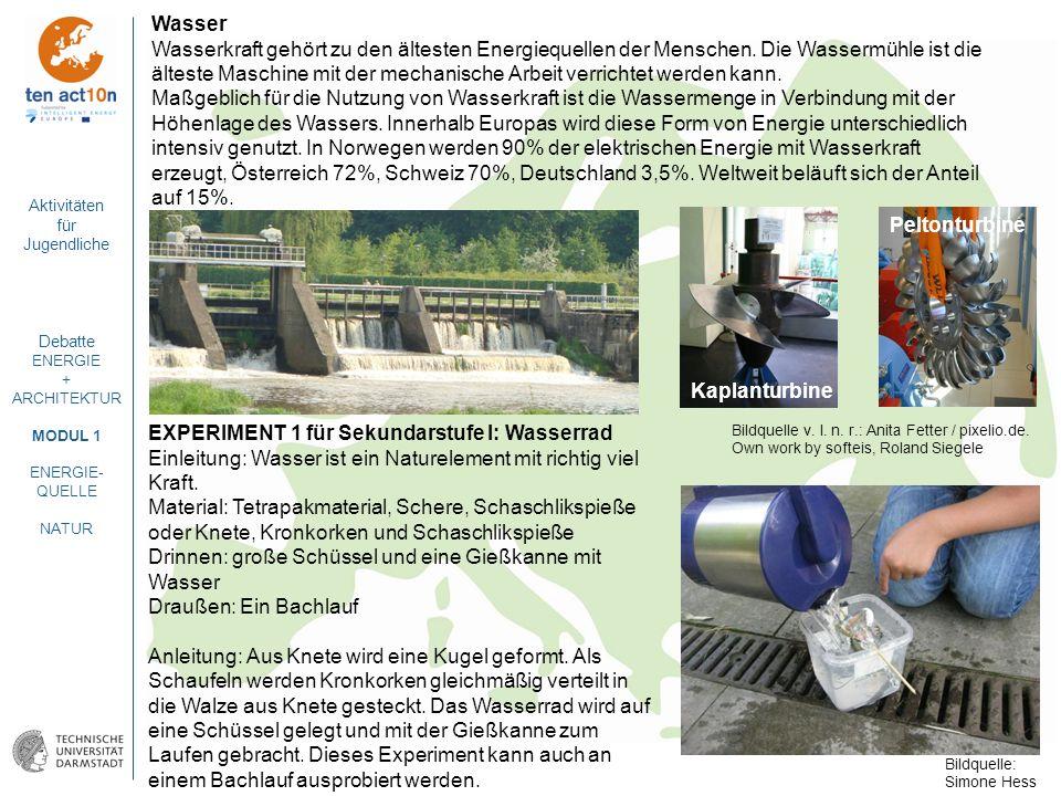 Aktivitäten für Jugendliche Debatte ENERGIE + ARCHITEKTUR MODUL 1 ENERGIE- QUELLE NATUR Wasser Wasserkraft gehört zu den ältesten Energiequellen der M