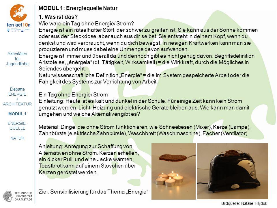 Aktivitäten für Jugendliche Debatte ENERGIE + ARCHITEKTUR MODUL 1 ENERGIE- QUELLE NATUR MODUL 1: Energiequelle Natur 1. Was ist das? Wie wäre ein Tag