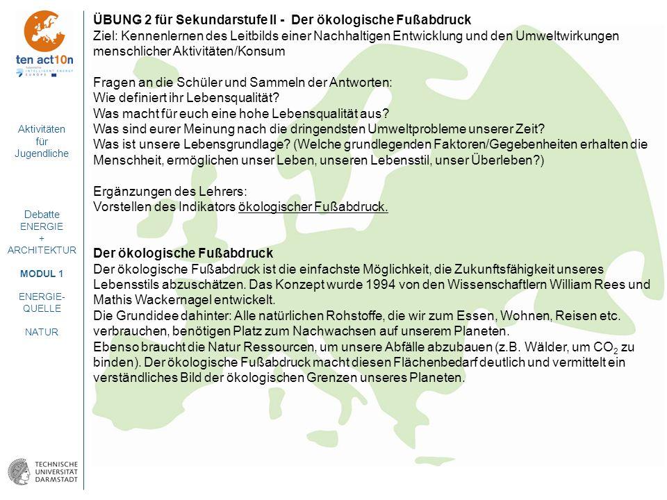 Aktivitäten für Jugendliche Debatte ENERGIE + ARCHITEKTUR MODUL 1 ENERGIE- QUELLE NATUR ÜBUNG 2 für Sekundarstufe II - Der ökologische Fußabdruck Ziel