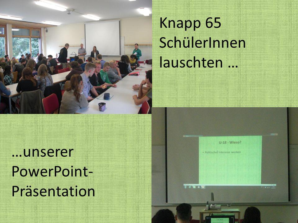 …unserer PowerPoint- Präsentation Knapp 65 SchülerInnen lauschten …