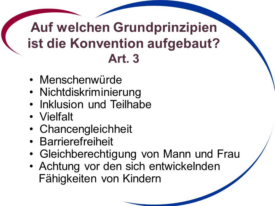 Auf welchen Grundprinzipien ist die Konvention aufgebaut.