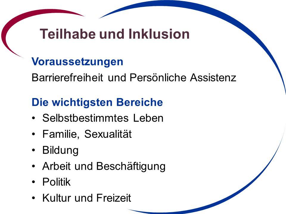 Teilhabe und Inklusion Voraussetzungen Barrierefreiheit und Persönliche Assistenz Die wichtigsten Bereiche Selbstbestimmtes Leben Familie, Sexualität Bildung Arbeit und Beschäftigung Politik Kultur und Freizeit