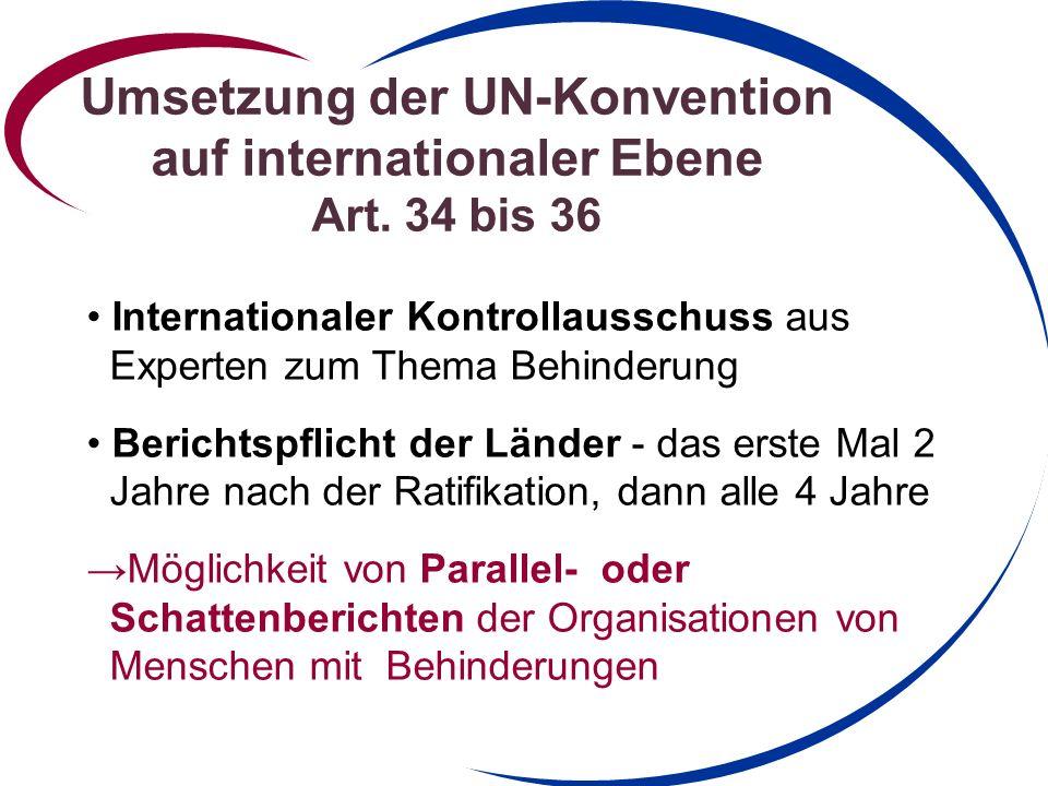Umsetzung der UN-Konvention auf internationaler Ebene Art.
