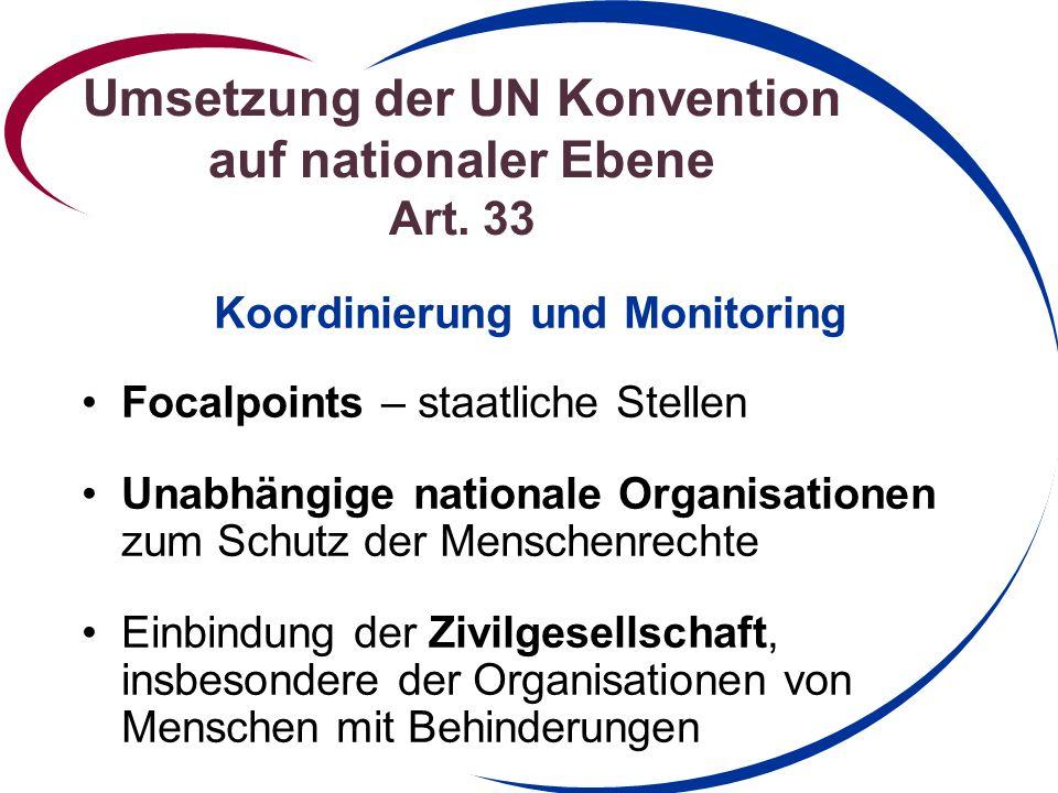 Umsetzung der UN Konvention auf nationaler Ebene Art.
