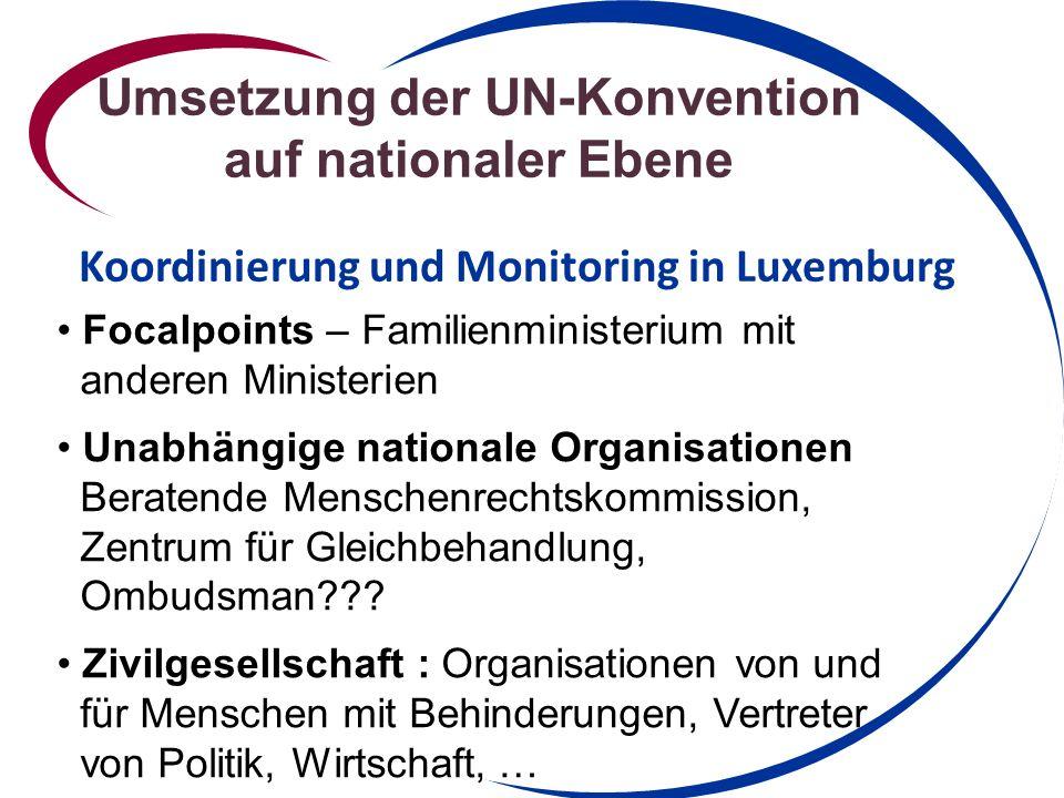 Umsetzung der UN-Konvention auf nationaler Ebene Koordinierung und Monitoring in Luxemburg Focalpoints – Familienministerium mit anderen Ministerien Unabhängige nationale Organisationen Beratende Menschenrechtskommission, Zentrum für Gleichbehandlung, Ombudsman??.