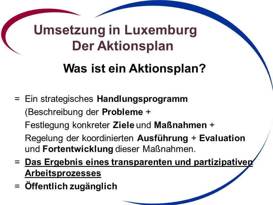 Umsetzung in Luxemburg Der Aktionsplan Was ist ein Aktionsplan.