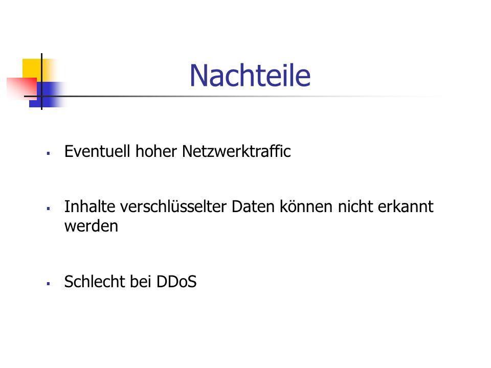 Nachteile Eventuell hoher Netzwerktraffic Inhalte verschlüsselter Daten können nicht erkannt werden Schlecht bei DDoS