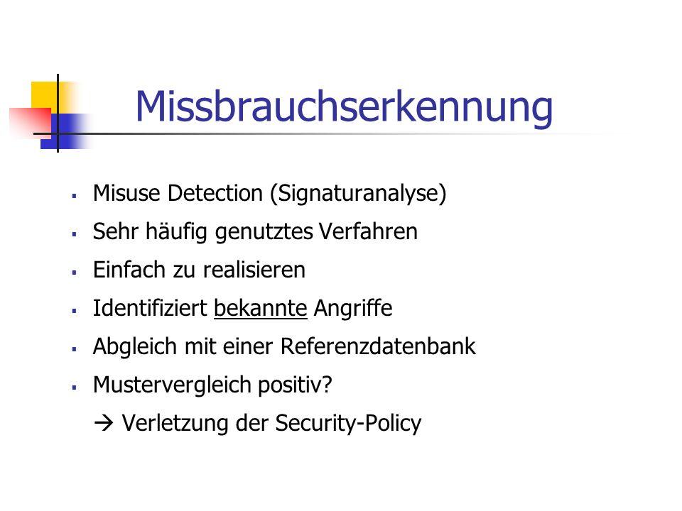 Missbrauchserkennung Misuse Detection (Signaturanalyse) Sehr häufig genutztes Verfahren Einfach zu realisieren Identifiziert bekannte Angriffe Abgleic