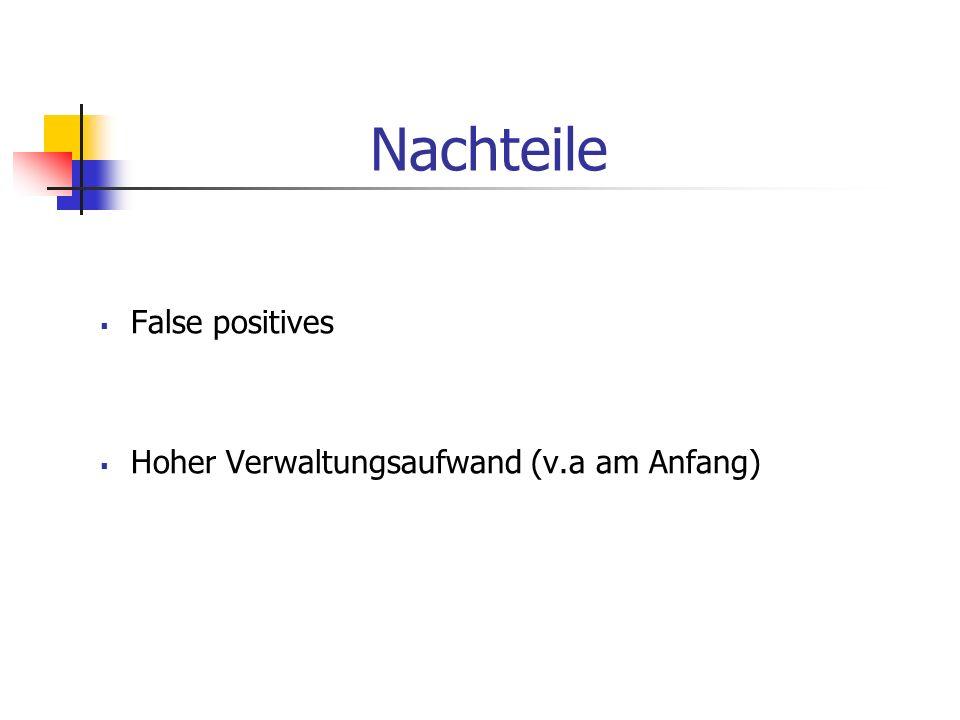 Nachteile False positives Hoher Verwaltungsaufwand (v.a am Anfang)