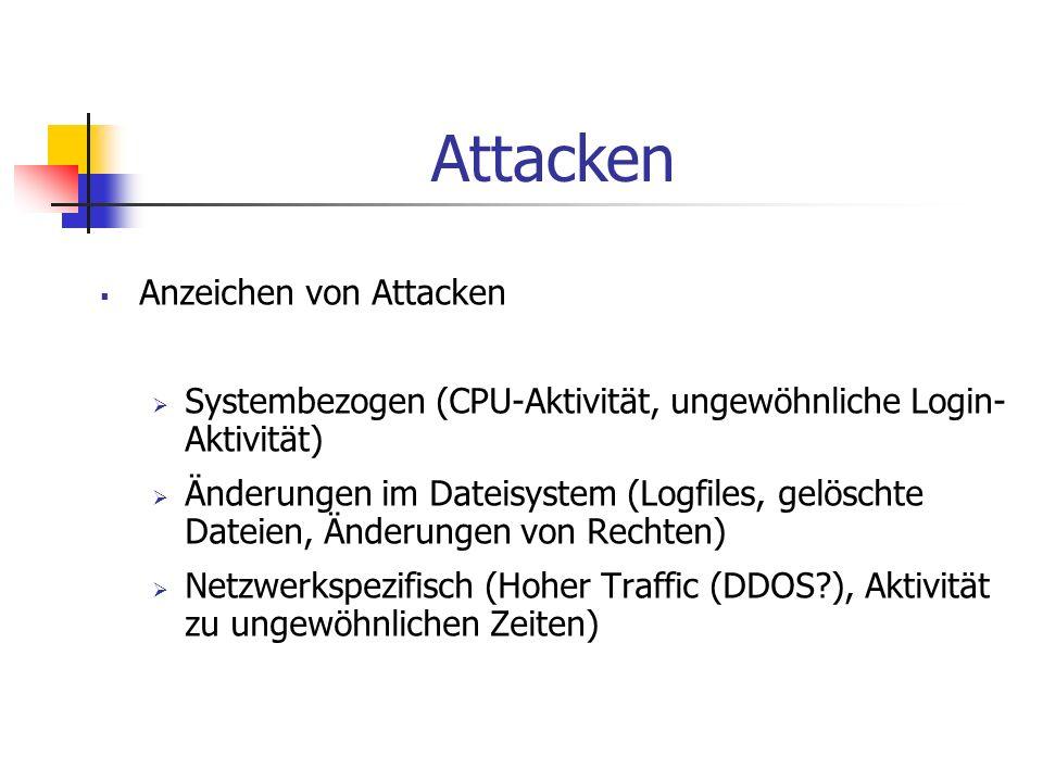 Anzeichen von Attacken Systembezogen (CPU-Aktivität, ungewöhnliche Login- Aktivität) Änderungen im Dateisystem (Logfiles, gelöschte Dateien, Änderunge