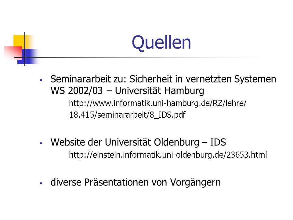 Quellen Seminararbeit zu: Sicherheit in vernetzten Systemen WS 2002/03 – Universität Hamburg http://www.informatik.uni-hamburg.de/RZ/lehre/ 18.415/sem